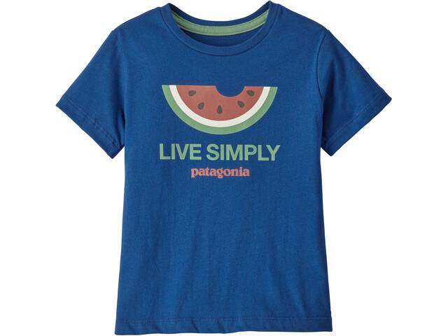 Patagonia Live Simply Organic T-shirt Børn, live simply melon/superior blue
